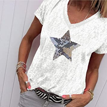 Keepwin ¡Nueva!Mujer Manga Corta Gatos Camiseta Estampado de Lentejuelas Estrella para Mujer Camisetas Deporte Mujer Talla Grande Camisetas Tirantes Mujer Tallas Grandes (Blanco,XXL): Amazon.es: Deportes y aire libre