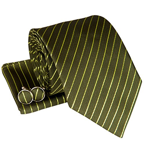 Classic Thin Striped Woven Men's Tie Necktie with matching Pocket Square and Cufflinks, Gift Box Set as Christmas Gift, Birthday Gift - Army Green with Green Thin Stripe