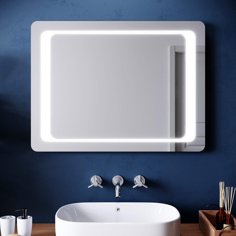 Elegant Modern Bathroom Mirror With Led Light 800 X 600 Mm Illuminated Mirrors Wall Mounted Infrared Sensor Demister Heat Pad Buy Online In Angola At Angola Desertcart Com Productid 129058821