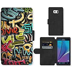 PU Cuir Flip Etui Portefeuille Coque Case Cover véritable Leather Housse Couvrir Couverture Fermeture Magnetique Silicone Support Carte Slots Protection Shell // V00002355 Graffiti textura del grunge // Samsung Galaxy Note 5 V (Not fit S5)