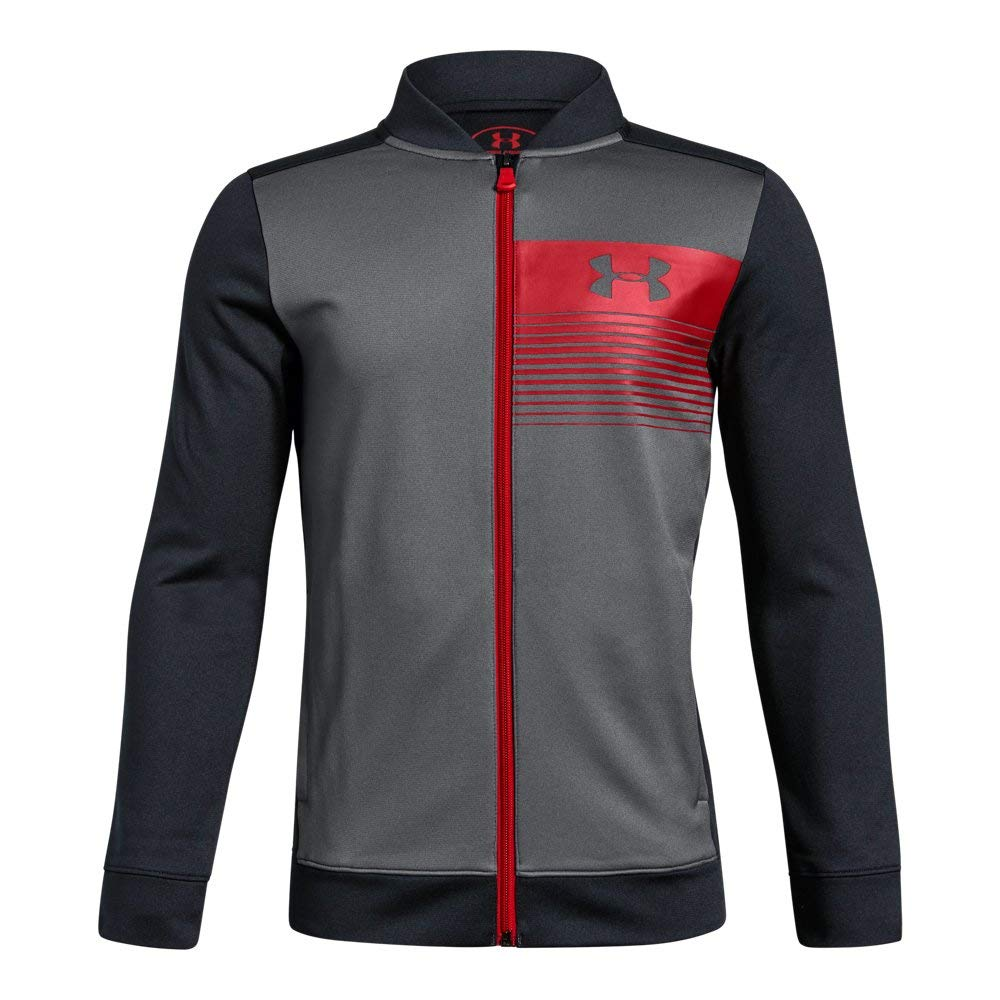 Under Armour Boys Novelty Pennant Jacket, Graphite (040)/Red, Youth Small by Under Armour