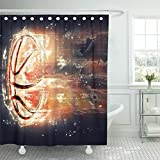 Emvency 72''x78'' Shower Curtain Waterproof Home Decor Black Abstract Flying Basketball Red Game Success Action Activity Ball Burning Picture Print Polyester Fabric Adjustable Hook