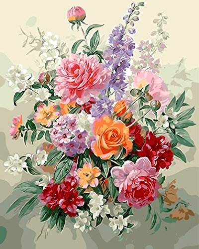 MailingArt Wooden Framed Paint By Number Flowers No Mixing / No Blending Canvas DIY Painting - Classical Flowers (L)