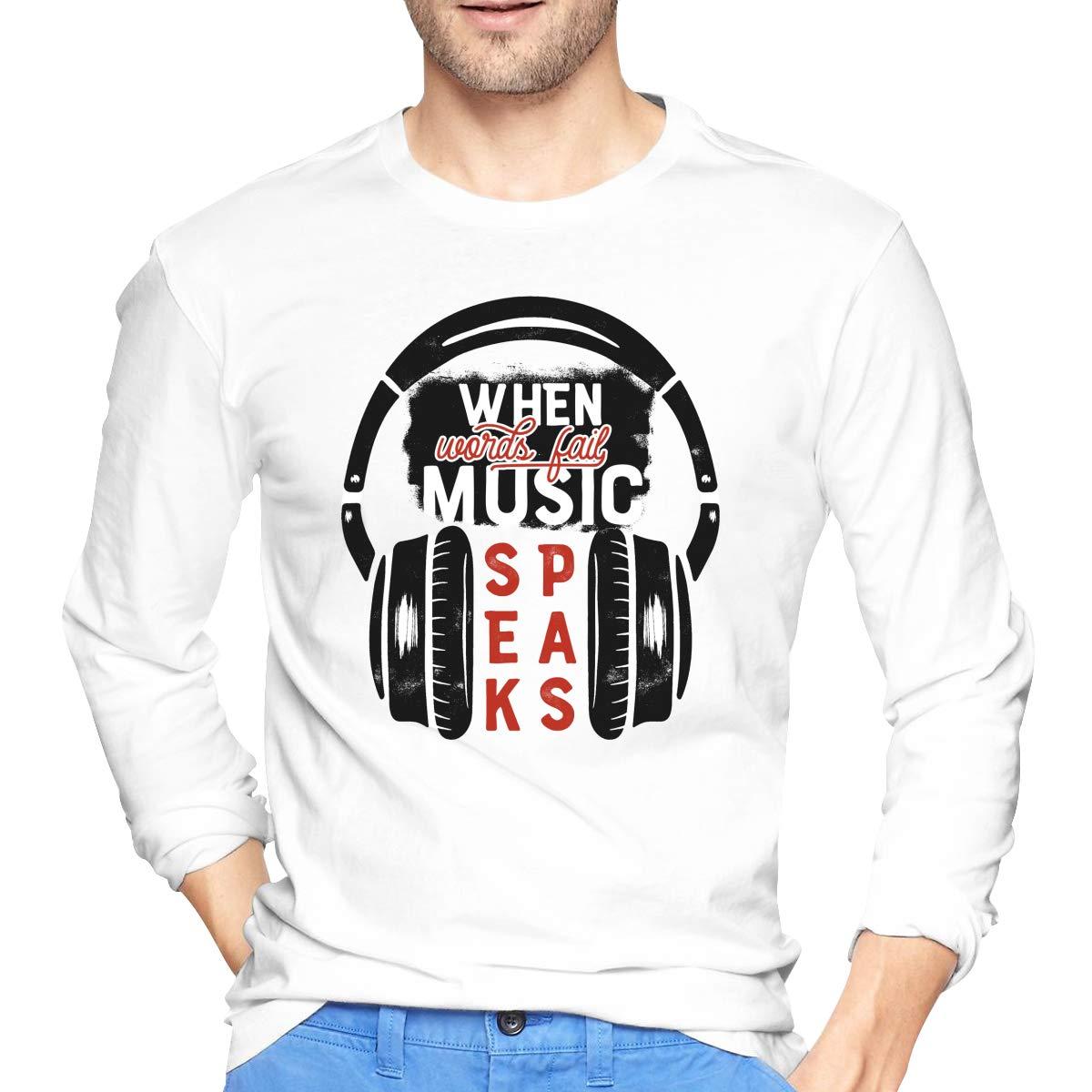 LONGTENG Designed T Shirt Music Speaks Fashion T Shirts O-Neck 100/% Cotton for Boys Black