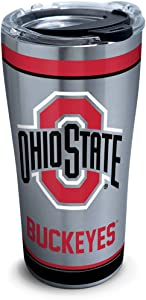 Tervis 1297814 NCAA Ohio State Buckeyes Tradition Stainless Steel Tumbler with Lid, 20 oz, Silver