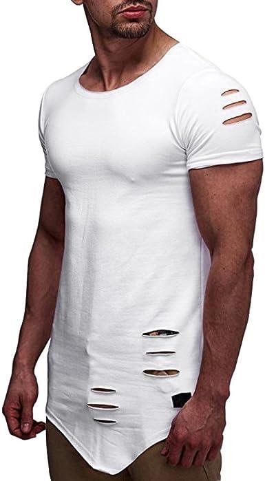 Camiseta para Hombre, 💝Xinantime Personalidad de Moda Hole T-Shirt Camisa de Manga Corta Delgada Casual para Hombres Blusa Superior, M-3XL: Amazon.es: Ropa y accesorios