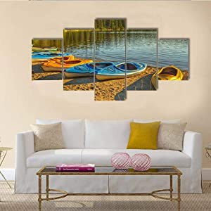 TOPJPG Custom Painting Pictures Kayaks at Pyramid Lake in Alberta Decoration Canvas Prints Wall Art Framework Modern Art Decor Bathroom Bedroom Kitchen Modular Framed Ready to Hang