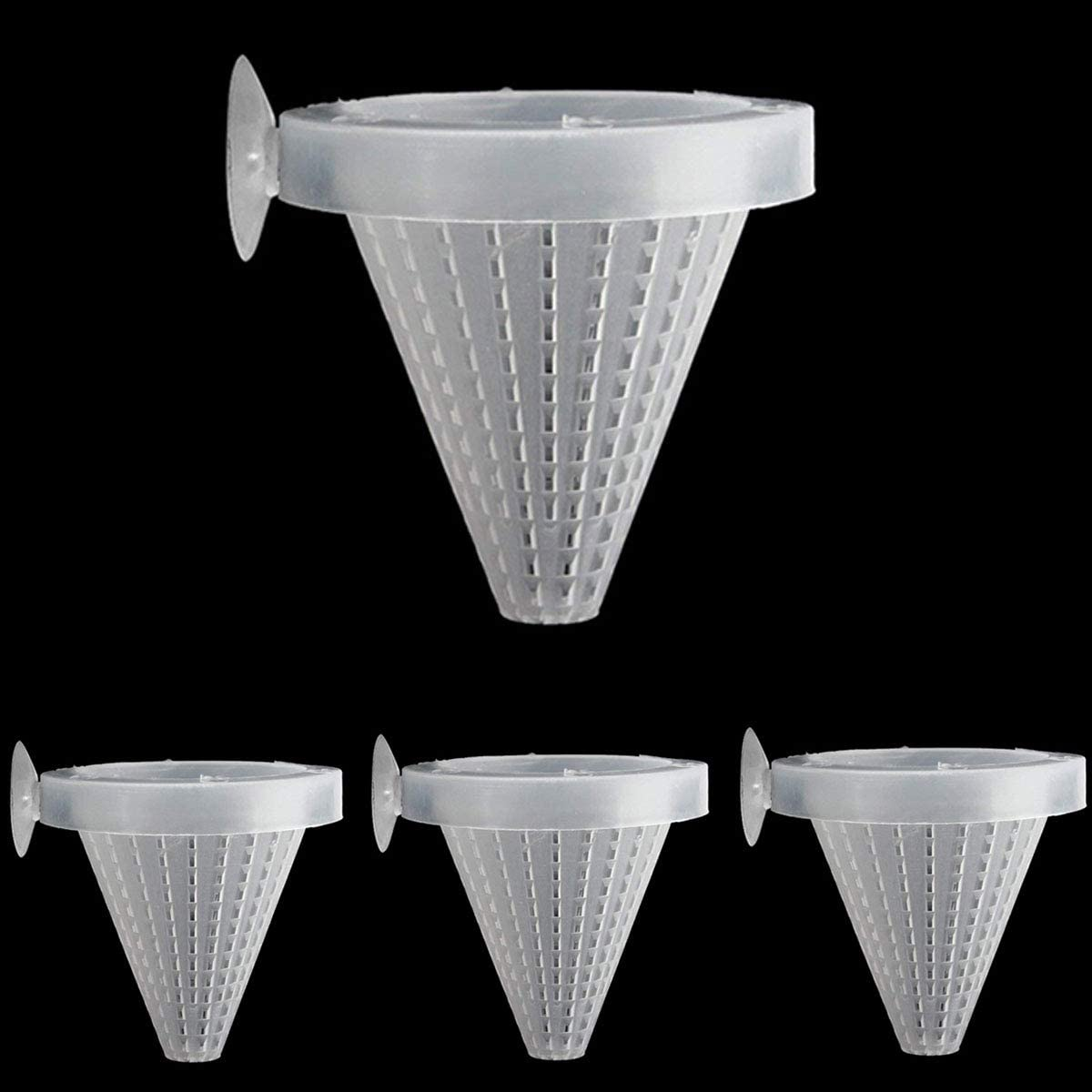 Ailindany 4PCS Aquarium Live Red Worm Feeding Cone Cup Plant Cup Brine Shrimp Plastic Fish Feeder for Aquariums with Suckers