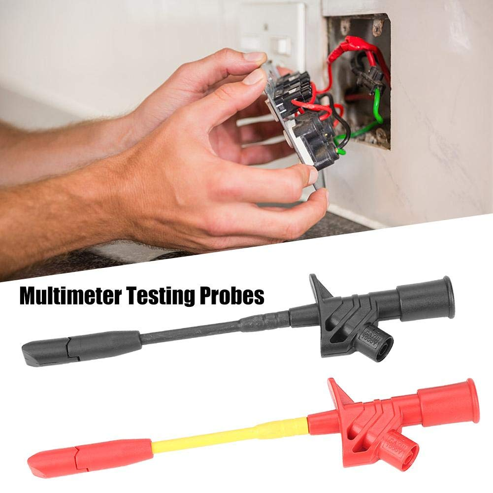 Multimeter Testing Probes,P5005 2pcs Fully Insulated Quick Piercing Test Needle Hook Multimeter Testing Probes 4mm Socket