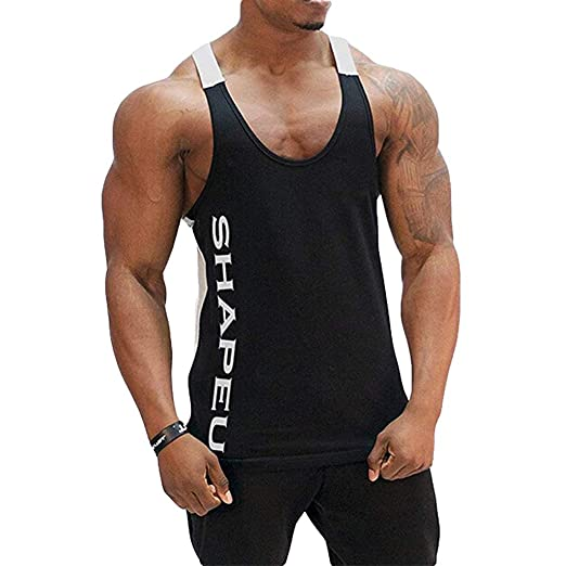 7f923b2b2672f Men  s Fashion Sports Sleeveless Top Summer Casual Slim Muscle Dry Fit  Fitness Gym Bodybuilding Blouse Tank Tops at Amazon Men s Clothing store