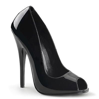 pleaser DOMINA 212 Damen Peeptoe High Heels, Lack Schwarz
