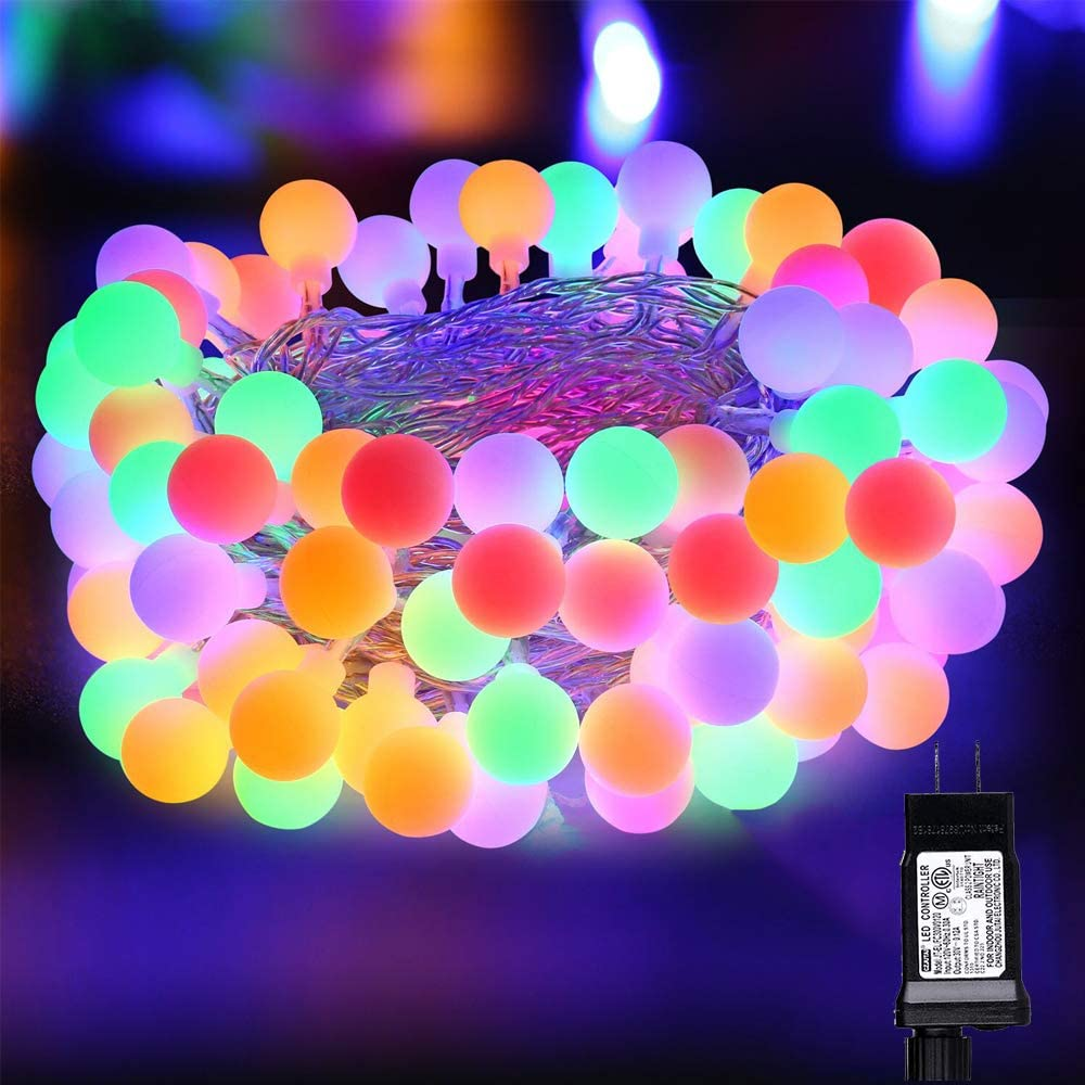 Toodour LED Christmas Lights, 36ft 80 LED Globe String Lights with 8 Modes, Timer, Globe Ball Christmas String Lights for Party, Home, Wedding, Room, Holiday, Christmas Decorations (Multicolor)