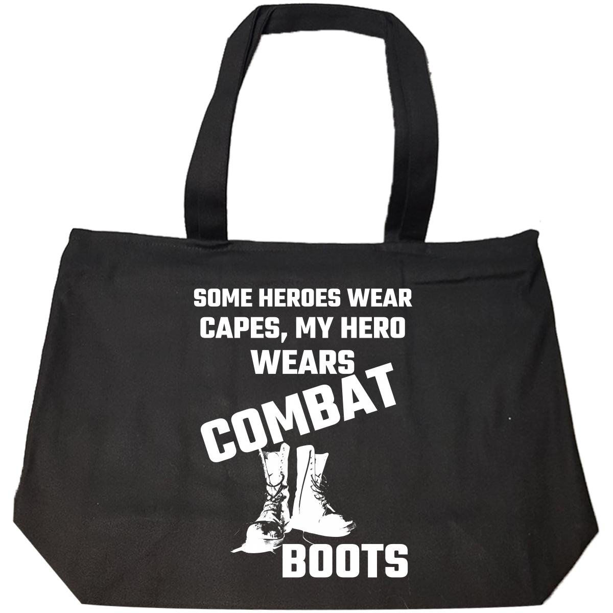 Some Heroes Wear Capes My Hero Wears Combat Boots Military - Tote Bag With Zip