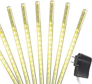 AOCKS Rain Drop Lights,30cm 8 Tubes 144 LED(11.8 inch/Tube) Icicle Snow Falling Raindrop Lights for Wedding Party Holiday Xmas Halloween Home Garden Tree Decoration (Warm White)