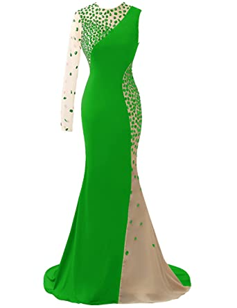 LIZAIA Womens Chiffon Long Prom Dresses Sheer One Shoulder Beading Evening Formal Gowns - Green -