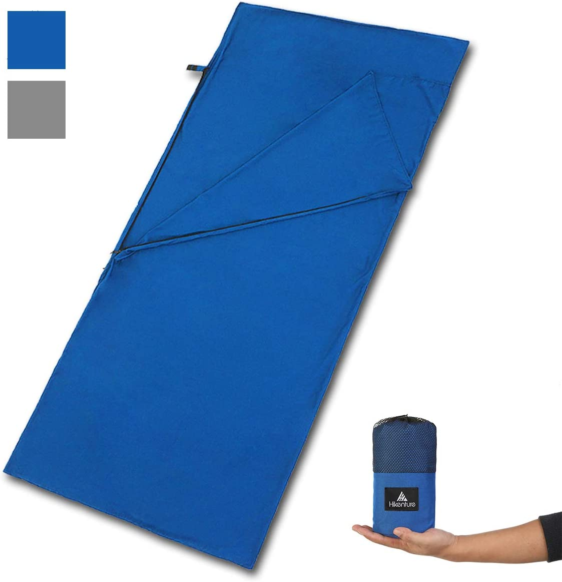 HIKENTURE Sleeping Bag Liner -Soft Polyester Microfiber Camping Sheet- Portable Lightweight Travel Sheet with Zipper-87 x 35 inches Sleep Sack for Adult-Hotels,Hiking,Camping and Travel