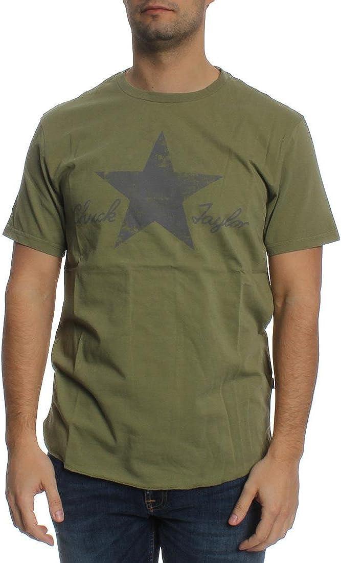 Converse 10001078 - Camiseta de manga corta para hombre, color caqui 333 Caqui / gris. S: Amazon.es: Ropa y accesorios