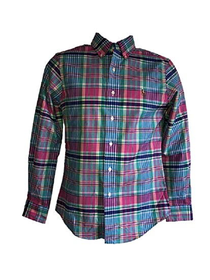 3f9812434 Ralph Lauren Classic FIT Multi-Coloured Check Size X-Small XS Mens Boys Long-Sleeve  SZ XS  Amazon.co.uk  Clothing