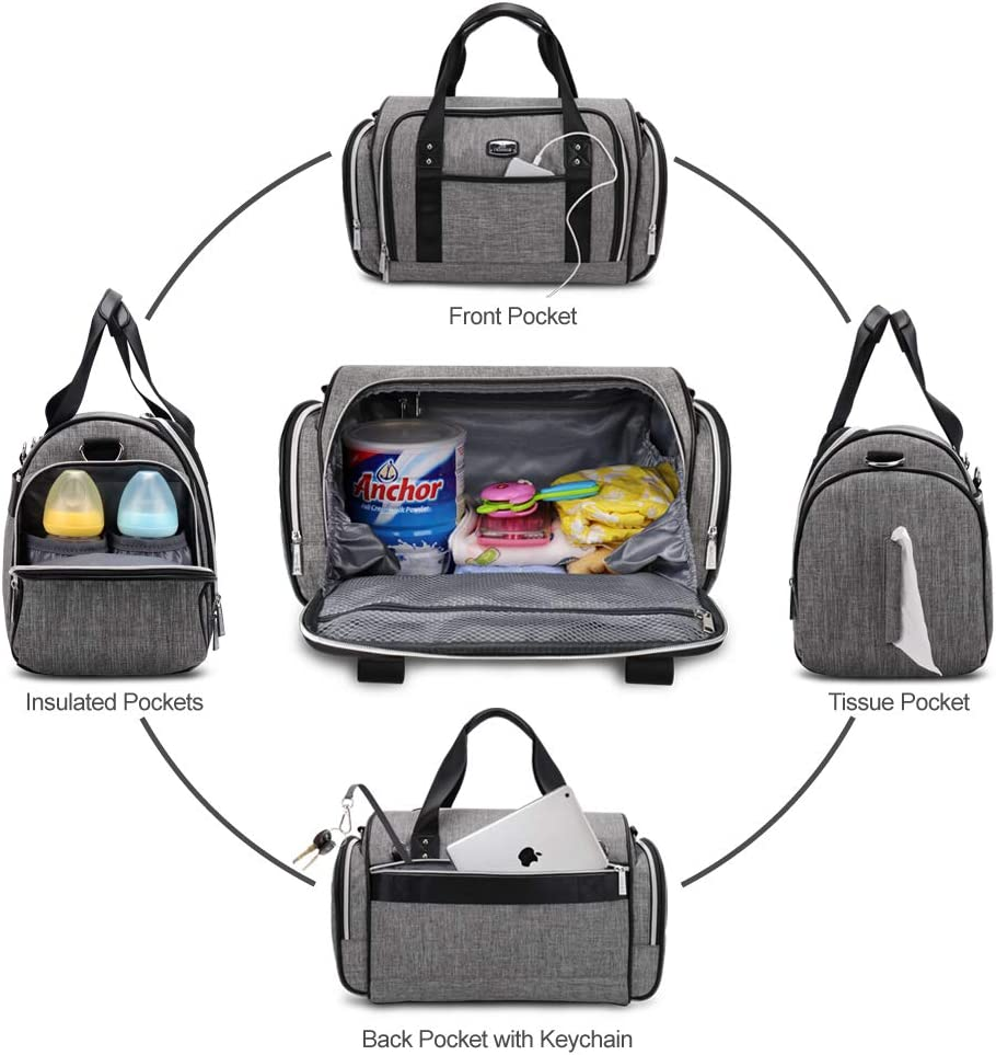 Multi-function Large Convertible Travel Baby Bag for Boys and Girls Hafmall Diaper Bag