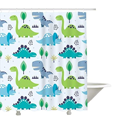Autien Cartoon Shower Curtain Waterproof Under The Sea Tropical Fishes Coral Dinosaur Fabric Bathroom Decor