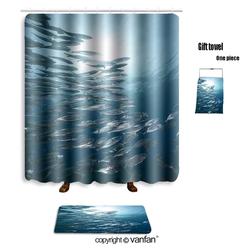 vanfan bath sets Polyester rugs shower curtain mackerel school feeding 50570533 shower curtains sets bathroom 69 x 90 inches&31.5 x 19.7 inches(Free 1 towel 12 hooks)