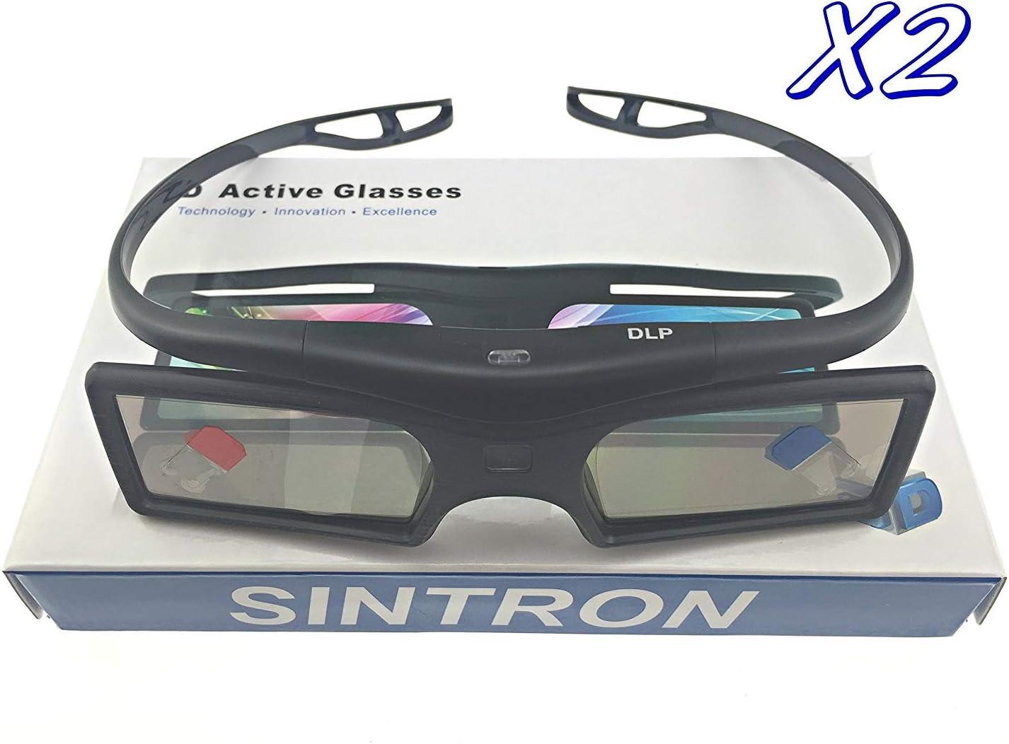 [Sintron] 2X 3D Active DLP-Link Glasses Eyewear - Support All Main Brand, 3D-Ready DLP Projectors Including Optoma, BenQ, Acer, Dell, Viewsonic, Vivitek, Sharp, LG, NEC, Mitsubishi 3D Projectors