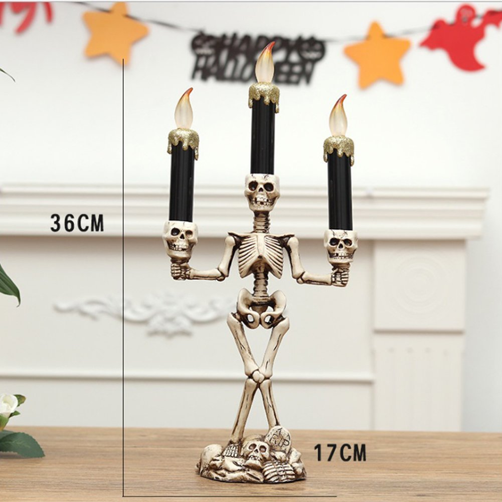 Zehui Candle Light Halloween Scary Skull Candle Light For Haunted House KTVステージセット部屋バーパーティーホーム装飾 mhy-1023-Zjj284 B076P4HF4X 27783 Gold Three Skeleton Candles Gold Three Skeleton Candles