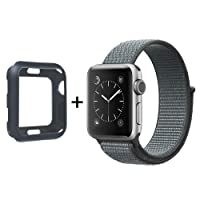 SYTHOO Correa Loop Deportiva de Nylon Tejido para Apple Watch Series 42mm 3/2/1 (Gris, 42mm)