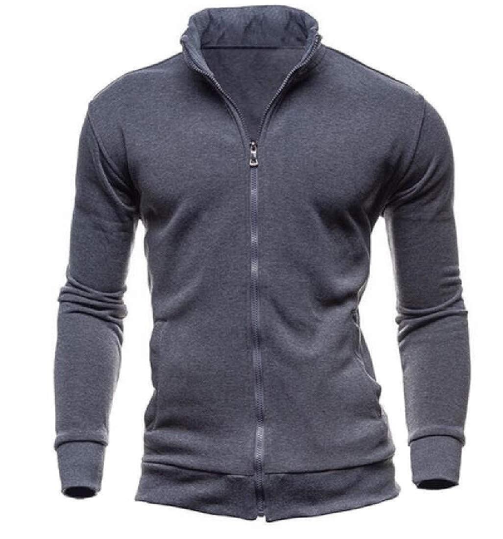 YUNY Men Long Sleeve Solid Cardigan Zip-Up Banded Collar Sweatshirt Jacket Dark Grey S