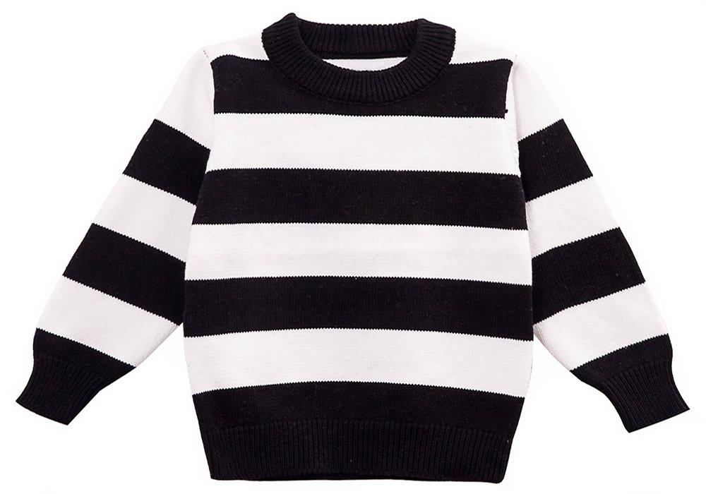 MOONNUT Little Boys' Girls' Crewneck Striped Pullover Sweater (Baby boy/Toddler)