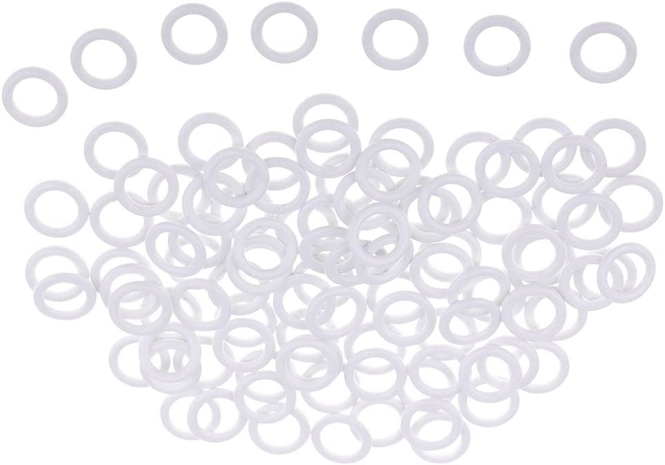 White 6mm 100 Pieces Metal Lingerie Bra Strap Rings Sliders Adjuster for Underwear Sewing