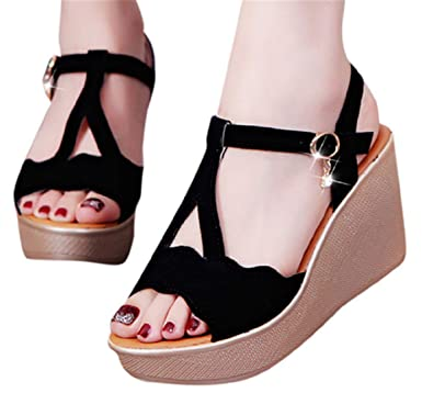 4ad677aeb3f6b Amazon.com: High Heel Wedge Sandals Shoes Women Summer Buckle Strap ...