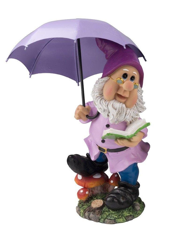 Large Gnome with Purple Umbrella Hat 38.5 CM Colourful Gnome Figure for Home and Garden Gnome Purple Shade