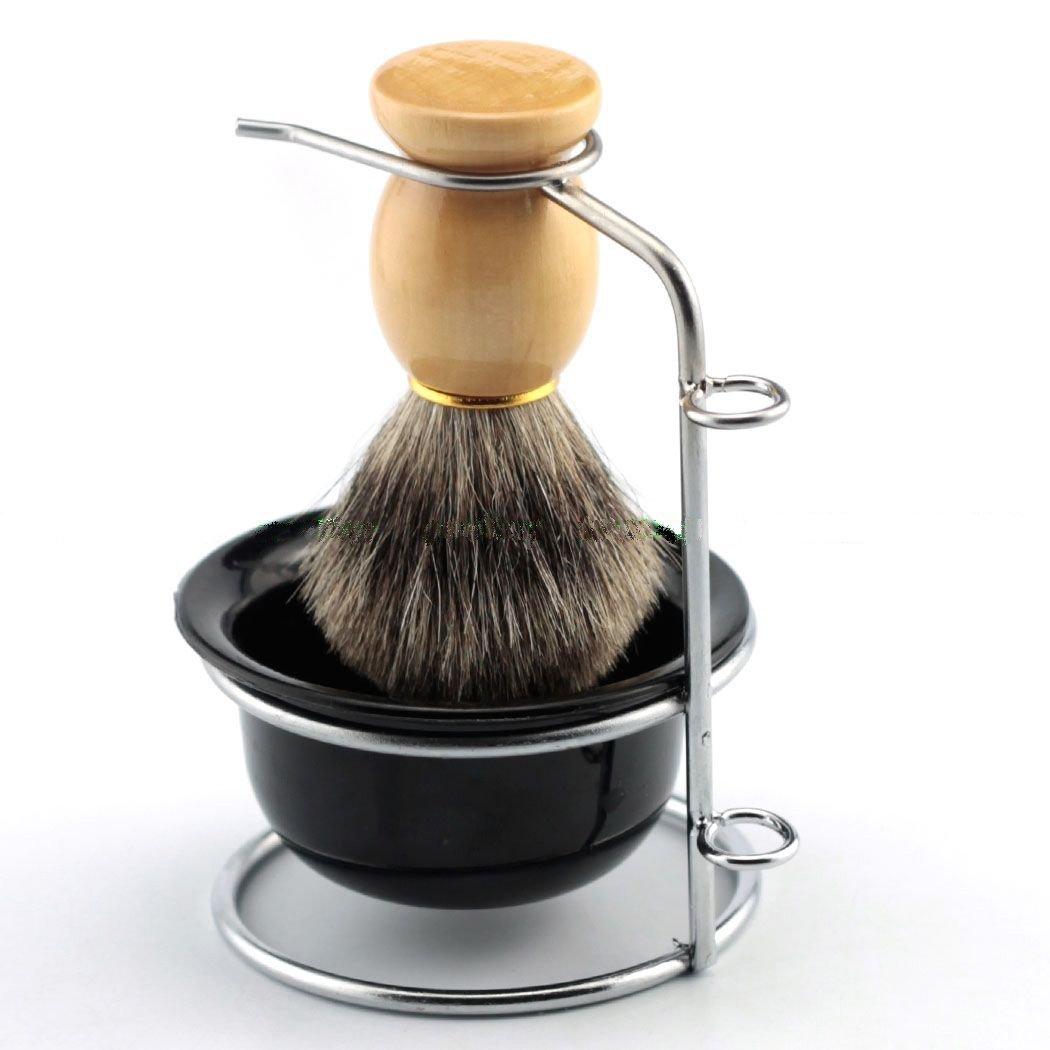 Yosoo Men's Shaving Brushes Set with Stainless Steel Shaving Brush Razor Stand Holder Shaving Bowl Mug Set or Faux Hair Shaving Brush (Brush+Brush Stand Holder)