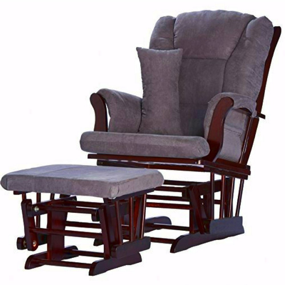 Glider Ottoman Set Grey Microfiber Upholstery Espresso Wooden Frame Rocking Chair with Lumbar Pillow Padded Tufted Comfy Gliding Chair and Ottoman Set for Nursery Room eBook by Easy&FunDeals