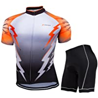 ZEROBIKE® Mens Breathable Short Sleeve Cycling Jersey Padded Shorts Quick Dry