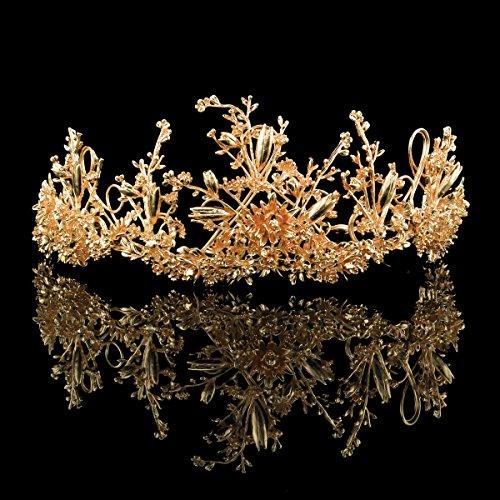 FUMUD Vintage Gold Crowns Gold Leaf Bridal Tiara Headband Headpiece Crowns Tiara Wedding Hair Accessories Bridal Headband