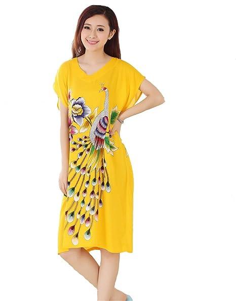 Jtc Women s Cotton Robe Sleepwear Peacock Nightdress Pajamas Yellow ... 8234213b3