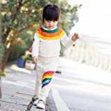 YOHA Baby Girls Autumn Soft Rainbow Top Blouse Long Sleeve Toddler Casual Tops Beige Pants,80