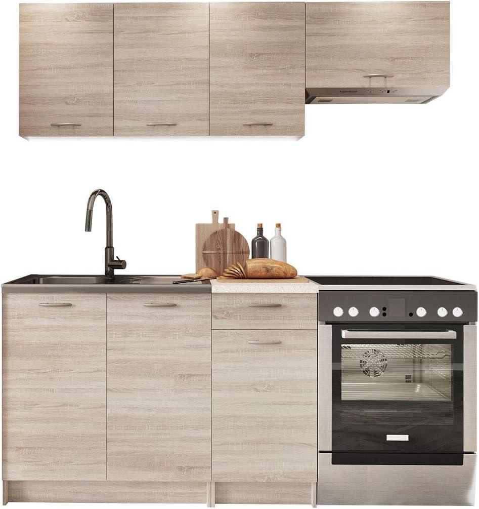 Küche Mela 12/12 cm, Küchenblock/Küchenzeile, 12 Schrank-Module frei  kombinierbar (Sonoma Eiche/Petra Beige)