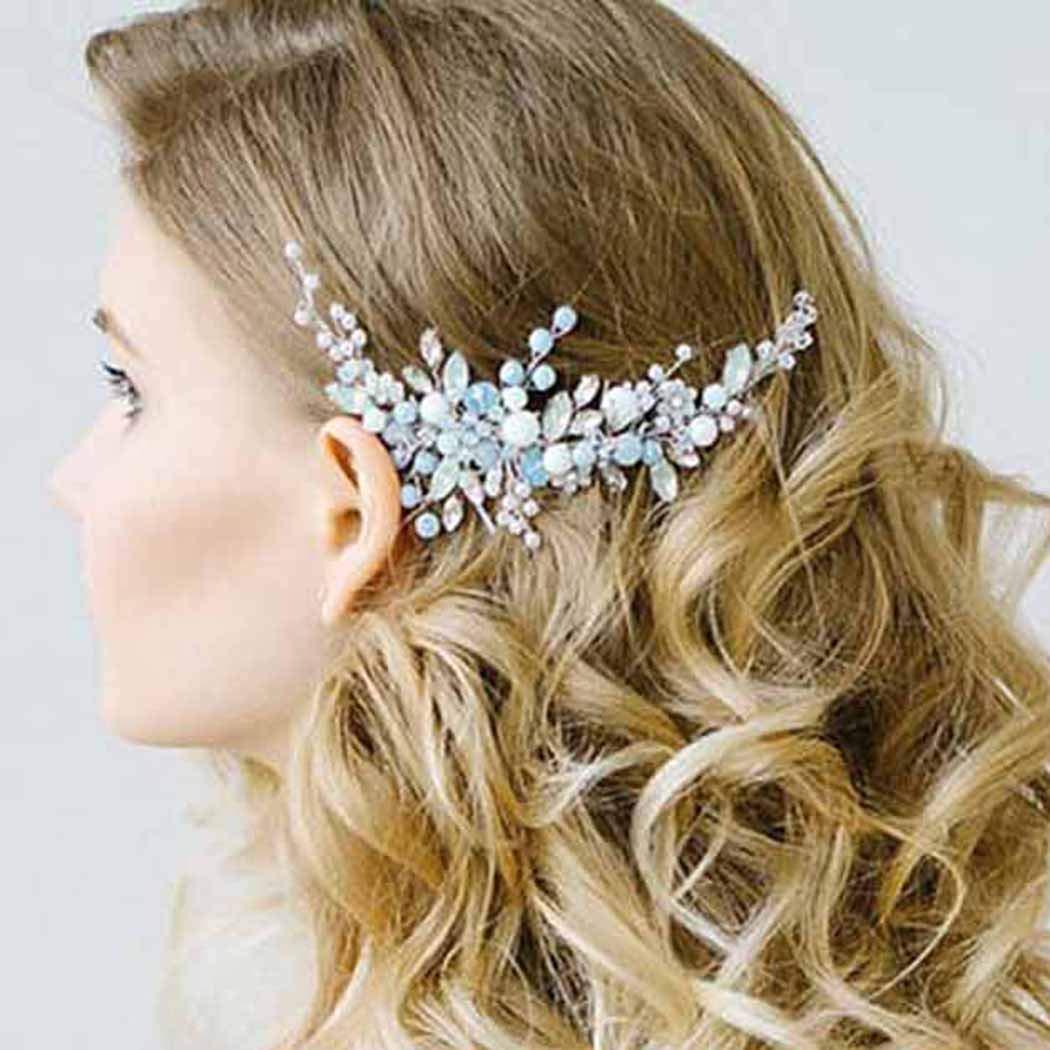 Simsly Combs Slides fiore capelli sposa accessori per capelli per sposa e damigelle d' onore (argento) fs-106