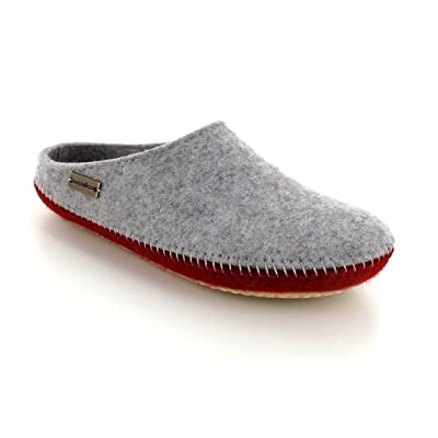 HAFLINGER Felt Slippers | P-Loft Duo, Greay and red: Shoes