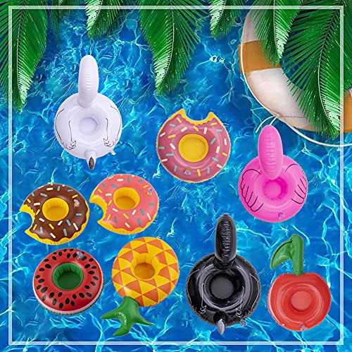 Rainbow Kingdom Inflatable Drink Holders, 9 Packs Inflatable Cup Coasters Drink Floats Floating Drink Holder Bath Toys for Kids and Swimming Pool Party