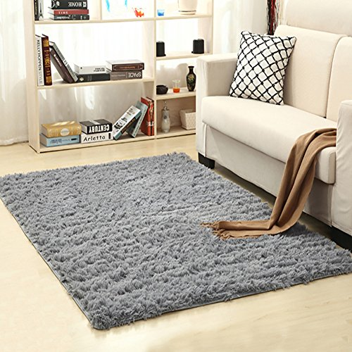 Gray Carpet (LOCHAS Ultra Soft Indoor Modern Area Rugs Fluffy Living Room Carpets Suitable for Children Bedroom Home Decor Nursery Rugs 4 Feet by 5.3 Feet (Gray))