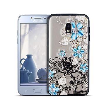 MOEVN Funda para Samsung J2 Core Transparente, Flor Silicone ...