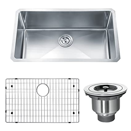 Dowell Undermount Single Bowl 16 Gauge Kitchen Stainless Steel Sinks  Handcrafted Small Radius Corner Series