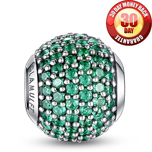 Glamulet 925 Sterling Sliver Lucky Birthstone Paved Crystal Charms Beads Fits Bracelet, May Emerald Green, Ideal Jewelry Gifts for Lover, Women, Mom, Wife, Girls