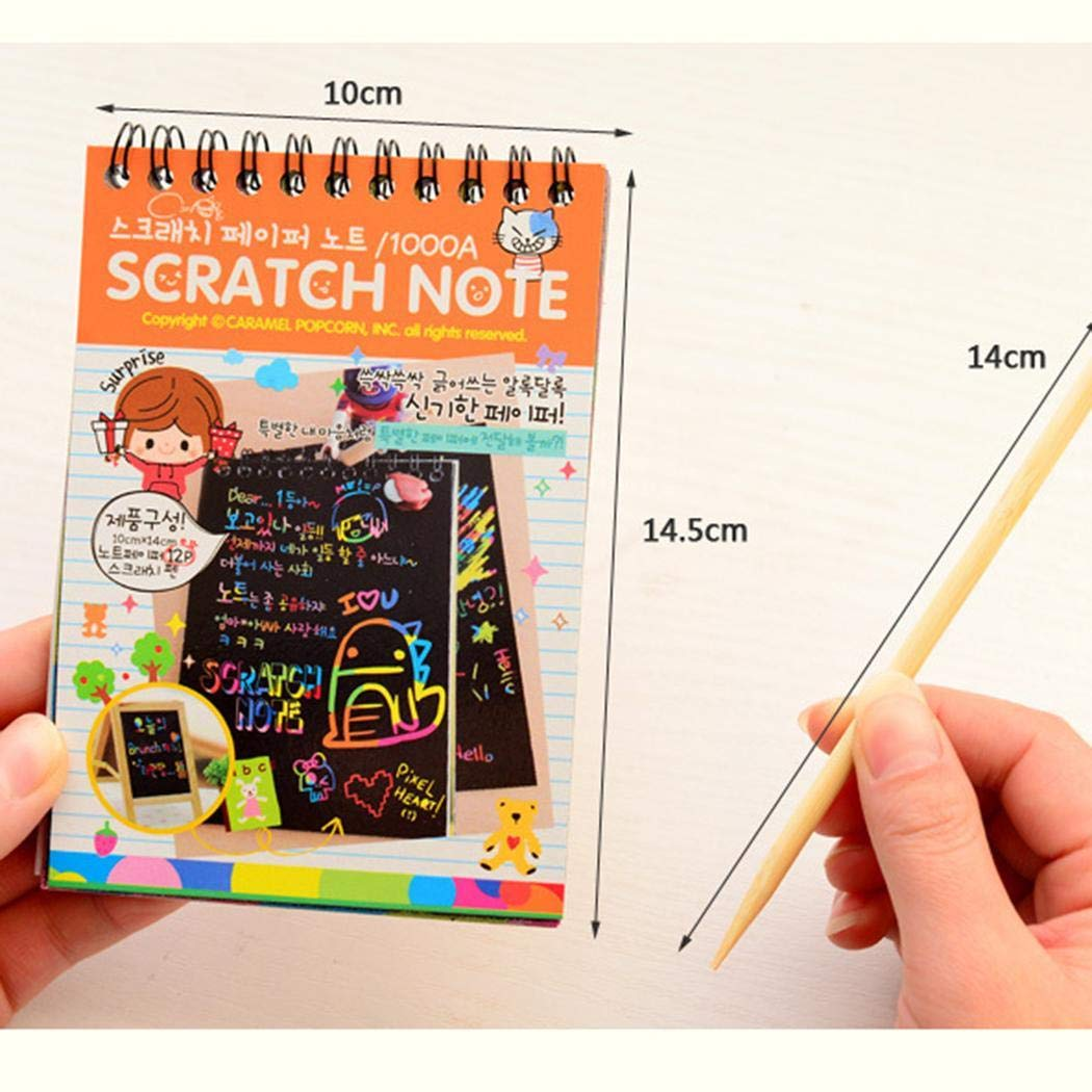 piokikio 10pcs Portable DIY Children Education Painting Book Loose Leaf Scratch Picture Book Drawing