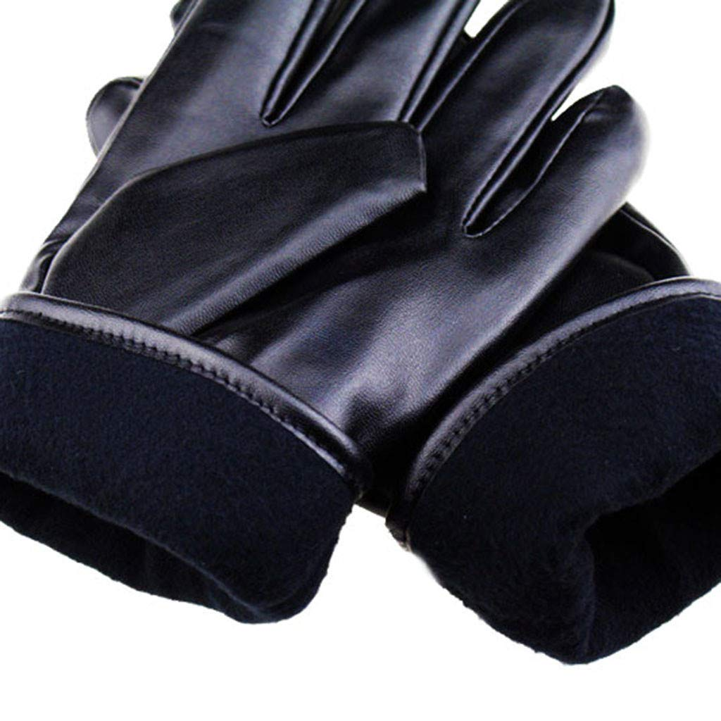 Chinahope Sport Safety Mens Lenther Gloves Thermal Lined Black Drivinc Winter Gift