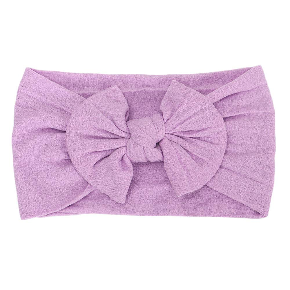 Cyhulu Baby Girl Nylon Headbands Newborn Infant Toddler Hairbands and Bows Child Hair Accessories (Purple, One size)